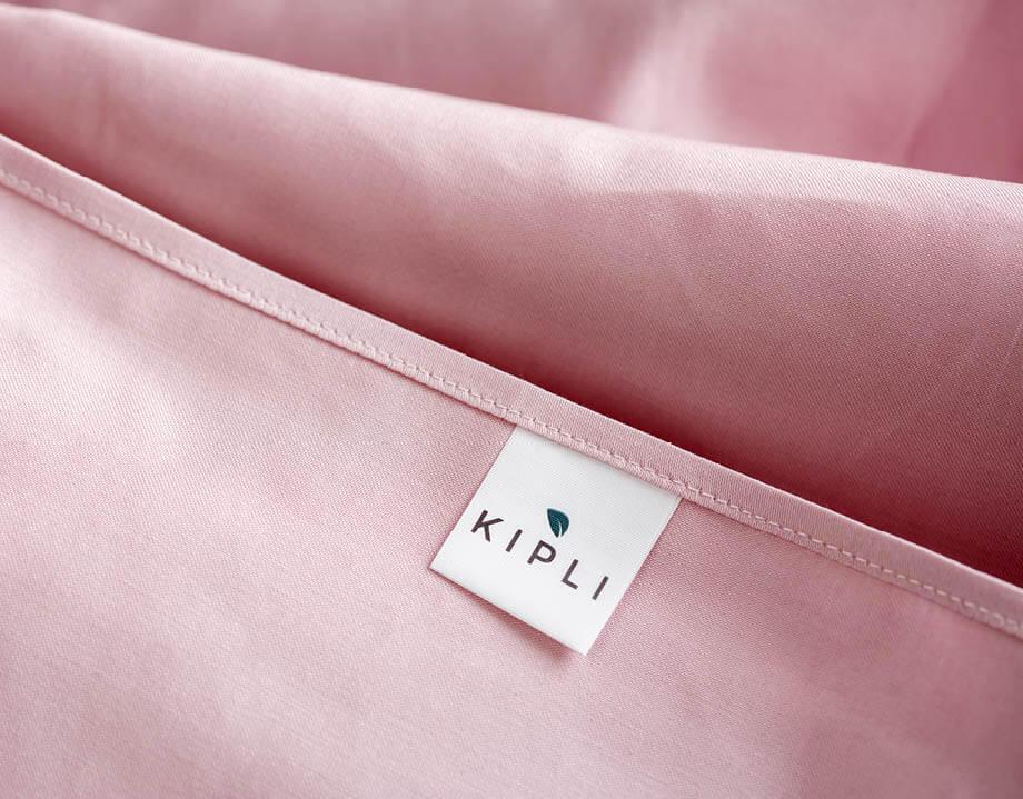 Housse couette coton bio couleur rosé poudré avec étiquette Kipli